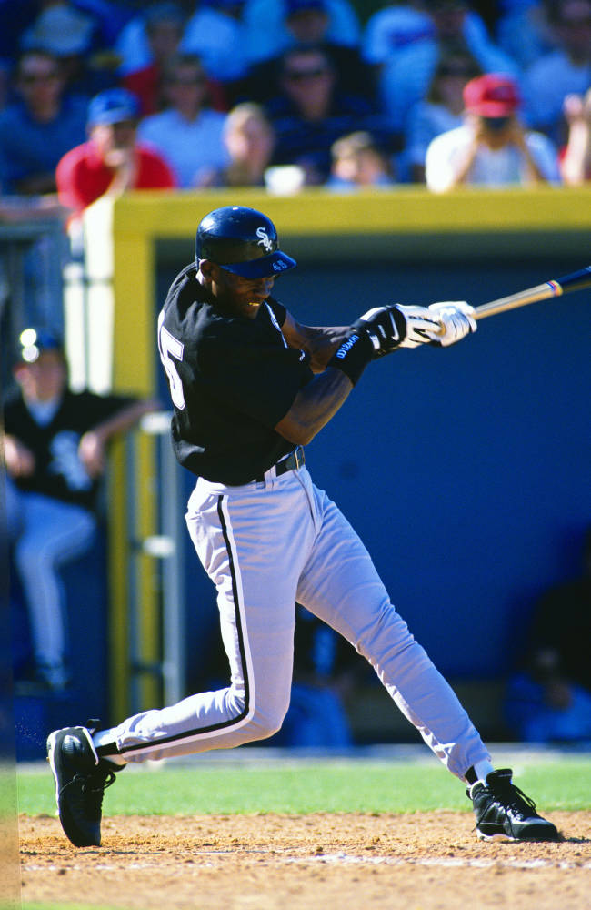 (1994) Michael Jordan of the Birmingham Barons, the Double-A team of the Chicago White Sox, bats during a game. (Photo by Focus on Sport/Getty Images)