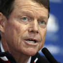 US team captain Tom Watson speaks during a press conference after Europe won the 2014 Ryder Cup golf tournament at Gleneagles, Scotland, Sunday, Sept. 28, 2014. (AP Photo/Alastair Grant)