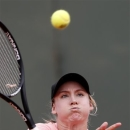 Bethanie Mattek-Sands, of the U.S, returns the ball to Argentina's Paula Ormaechea during their third round match of the French Open tennis tournament at the Roland Garros stadium Saturday, June 1, 2013 in Paris. (AP Photo/Petr David Josek)