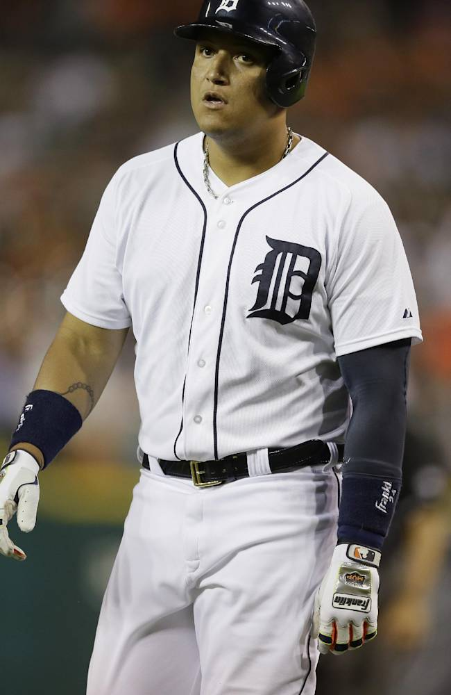 Detroit Tigers' Miguel Cabrera walks back to the dugout after flying out during the sixth inning of a baseball game against the Tampa Bay Rays in Detroit, Sunday, July 6, 2014. (AP Photo/Carlos Osorio)
