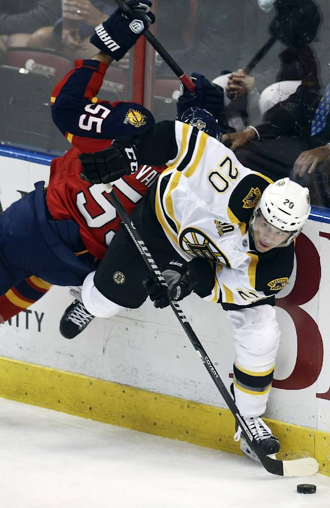 Boston Bruins' Daniel Paille (20) skates around Florida Panthers' Ed Jovanovski (55) during the first period of an NHL hockey game in Sunrise, Fla., Sunday, March 9, 2014