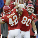 Kansas City Chiefs tight end Anthony Fasano (80) celebrates a touchdown with fullback Anthony Sherman (42) during the first half of an NFL football game, Sunday, Dec. 1, 2013, in Kansas City, Mo The Associated Press