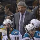 San Jose Sharks coach Todd McLellan reacts as he watches against the Los Angeles Kings during the third period in Game 5 of the Western Conference semifinals in the NHL hockey Stanley Cup playoffs, Thursday, May 23, 2013, in Los Angeles. The Kings won 3-0. (AP Photo/Mark J. Terrill)