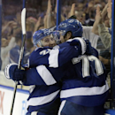 Tampa Bay Lightning defenseman Victor Hedman (77), of Sweden, celebrates with teammate right wing Ryan Callahan (24) after scoring against the Florida Panthers during overtime in an NHL hockey game Thursday, Oct. 9, 2014, in Tampa, Fla. The Lightning won