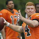 Cincinnati Bengals quarterback Andy Dalton passes the ball during practice at the NFL football team's training camp on Saturday, July 26, 2014, in Cincinnati The Associated Press