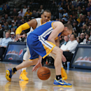 Golden State Warriors guard Steve Blake, front, steals ball from Denver Nuggets guard Randy Foye in the fourth quarter of the Warriors' 116-112 victory in an NBA basketball game in Denver on Wednesday, April 16, 2014 The Associated Press