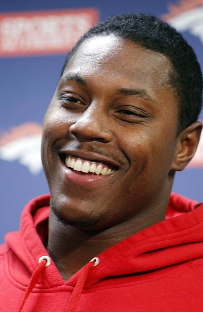 Denver Broncos running back Knowshon Moreno speaks during a news conference at the Denver Broncos NFL football training facility in Englewood, Colo., on Monday, Jan. 13, 2014. The Broncos are scheduled to play the New England Patriots for the AFC Championship on Sunday