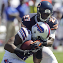 Chicago Bears cornerback Sherrick McManis (27) tackles Buffalo Bills running back Fred Jackson (22) during the first half of an NFL football game Sunday, Sept. 7, 2014, in Chicago The Associated Press
