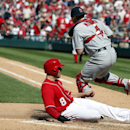 Washington Nationals' Danny Espinosa is out at home on the force out by St. Louis Cardinals catcher Yadier Molina during the sixth inning of a baseball game Sunday, April 20, 2014, in Washington. The Nationals won 3-2 The Associated Press