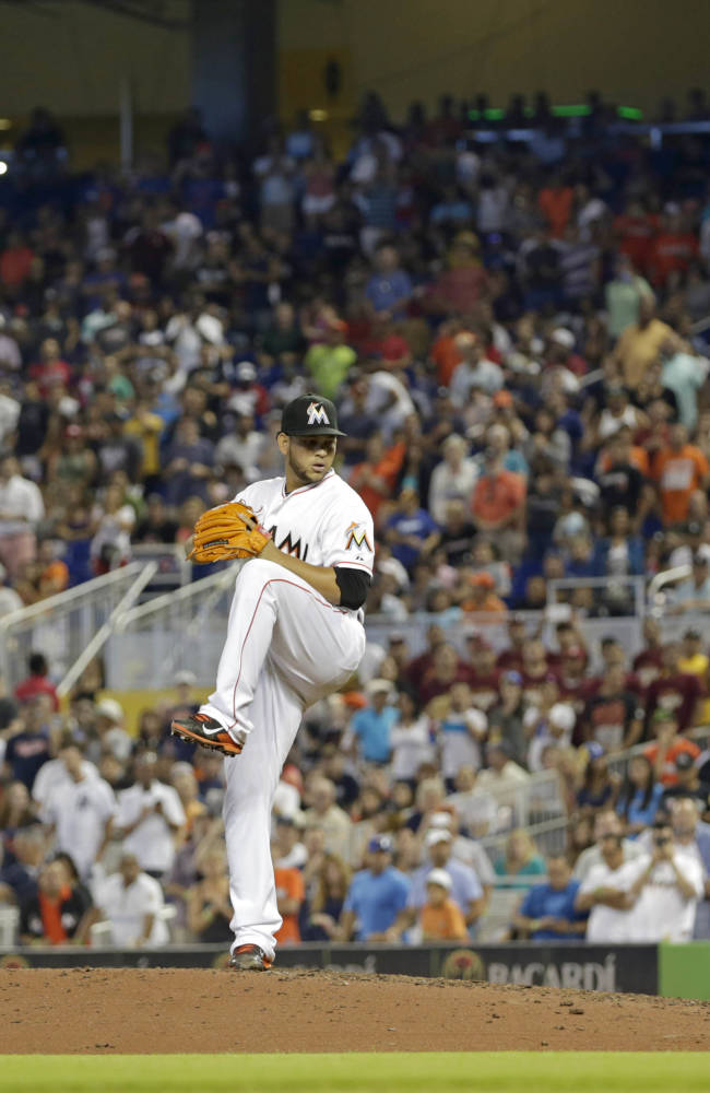 Miami Marlins' Henderson Alvarez pitches against the Detroit Tigers in the eighth inning of an interleague baseball game on Sunday, Sept. 29, 2013, in Miami. Alvarez pitched a no-hitter as the Marlins won 1-0