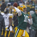 Green Bay Packers quarterback Matt Flynn throws passes prior to the start of an NFL football game against the Pittsburgh Steelers Sunday, Dec. 22, 2013, in Green Bay, Wis. (AP Photo/Matt Ludtke)