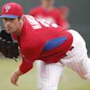 Philadelphia Phillies starting pitcher Cole Hamels delivers in the first inning of a spring exhibition baseball game against the Pittsburgh Pirates Triple-A team in Clearwater, Fla., Thursday, March 27, 2014 The Associated Press