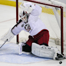 Columbus Blue Jackets goaltender Sergei Bobrovsky, of Russia, makes a pad save during the third period of an NHL hockey game season opener against the Buffalo Sabres, Thursday, Oct., 9, 2014, in Buffalo, N.Y. Columbus won 3-1 The Associated Press
