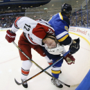 St. Louis Blues center Steve Ott, right, ties up Carolina Hurricanes center Eric Staal during the second period of an NHL hockey game, Saturday, Jan. 10, 2015, in St. Louis The Associated Press