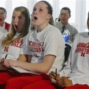 From left, Nebraska's Courtney Aitken, Sadie Murren, Lindsey Moore and Tear'a Laudermill react after learning their NCAA college basketball tournament assignment, Monday, March 18, 2013, in Lincoln, Neb. Nebraska is scheduled to face Chattanooga in a first-round game Saturday in College Station, Texas. (AP Photo/Nati Harnik)