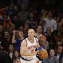New York Knicks guard Jason Kidd (5) drives down court in the second half of Game 1 of the NBA basketball playoffs in New York, Saturday, April 20, 2013. (AP Photo/Kathy Willens)