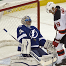 Tampa Bay Lightning goalie Ben Bishop stops a shot from New Jersey Devils' Martin Havlat (9) during the period of an NHL hockey game Tuesday, Oct. 14, 2014, in Tampa, Fla The Associated Press