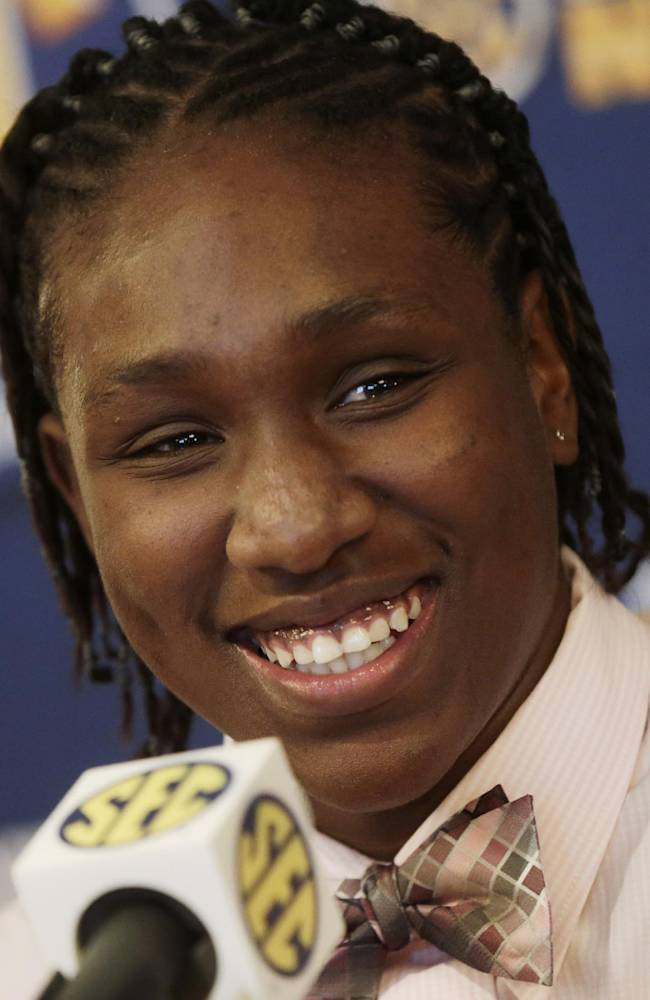 South Carolina player Aleighsa Welch talks with reporters during Southeastern Conference NCAA college basketball media day in Birmingham, Ala., Thursday, Oct. 17, 2013
