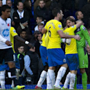 Newcastle United s Tim Krul, right, celebrates with teammates after winning against Tottenham Hotspur, during their English Premier League soccer match, at the White Hart Lane stadium in London, Sunday, Nov. 10, 2013