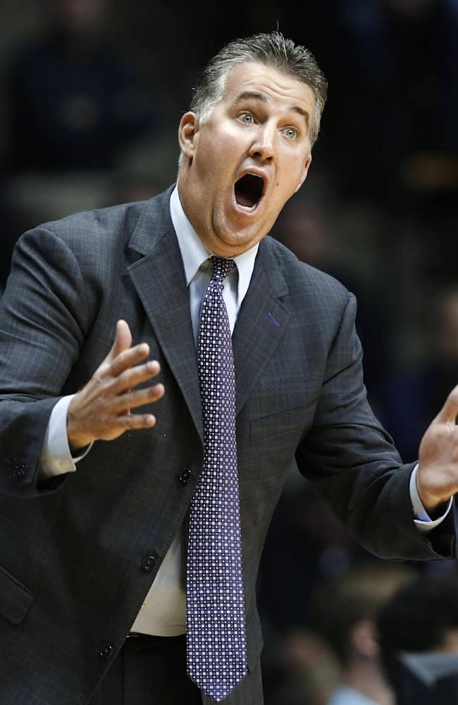 Purdue coach Matt Painter yells instructions to his players during an NCAA college basketball exhibition game against Indianapolis on Wednesday, Oct. 30, 2013, in West Lafayette, Ind. Purdue defeated Indianapolis 80-73