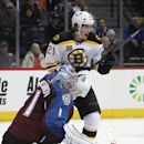 Colorado Avalanche goalie Semyon Varlamov (1) watches the puck bounce out of the net as Boston Bruins left wing Loui Eriksson (21) reacts to the goal scored the second period of an NHL hockey game in Denver on Friday, March 21, 2014 The Associated Press
