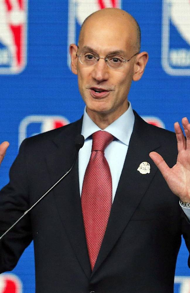 In this Feb. 15, 2014 file photo, NBA Commissioner Adam Silver speaks at a news conference before the skills competition at the NBA All Star basketball weekend, in New Orleans. NBA owners hold their end-of-season meeting with Silver, with the potential sale of the Milwaukee Bucks among the most important issues, Friday. April 18, 2014 in New York