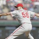 Philadelphia Phillies relief pitcher Jonathan Papelbon (58) delivers the ball during the ninth inning of an opening day baseball game against the Texas Rangers at Globe Life Park, Monday, March 31, 2014, in Arlington, Texas. The Phillies won 14-10 The Ass