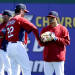 St. Louis Cardinals manager Mike Matheny, left, holds the elbow of shortstop Rafael Furcal during a workout before an exhibition spring training baseball game against the New York Yankees, Thursday, March 7, 2013, in Jupiter, Fla. Furcal will undergo Tommy John surgery and will likely be out for the year. (AP Photo/Julio Cortez)