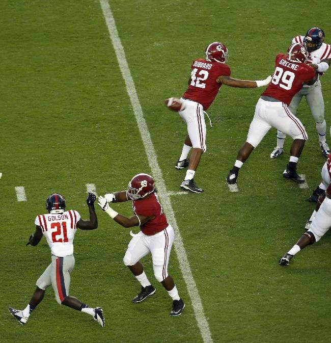 Alabama's Cade Foster (43) kicks a 53-yard field goal during the first half of an NCAA college football game against Mississippi on Saturday, Sept. 28, 2013, in Tuscaloosa, Ala