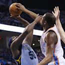 Oklahoma City Thunder forward Kevin Durant blocks a shot by Memphis Grizzlies forward Zach Randolph (50) in the first quarter of Game 2 of an opening-round NBA basketball playoff series in Oklahoma City, Monday, April 21, 2014 The Associated Press