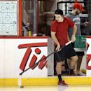 Ottawa Senators Jean-Gabriel Pageau takes some shots before practice in Ottawa, Ontario, Saturday, May 18, 2013, on the eve of Game 3 of the NHL hockey Stanley Cup playoff series against the Pittsburgh Penguins. (AP Photo/The Canadian Press, Fred Chartrand)