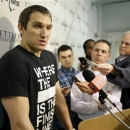 Washington Capitals captain and left wing, Alex Ovechkin, from Russia, speaks during a media availability at their NHL hockey