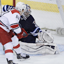Winnipeg Jets goaltender Al Montoya (35) saves a breakaway shot by Carolina Hurricanes' Jeff Skinner (53) during the third period of an NHL hockey game, Saturday, March 22, 2014, in Winnipeg, Manitoba. Carolina won 3-2 The Associated Press