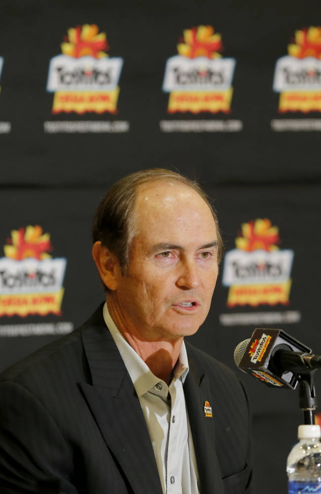 University of Central Florida head coach George O'Leary takes questions during the Fiesta Bowl media Day, Monday, Dec. 30, 2013, in Scottsdale, Ariz. Central Florida will face Baylor on Jan. 1, 2014 in the Fiesta Bowl NCAA college football game