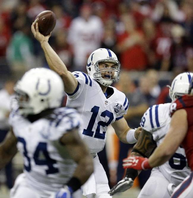 Indianapolis Colts' Andrew Luck (12) throws against the Houston Texans during the first quarter of an NFL football game Sunday, Nov. 3, 2013, in Houston
