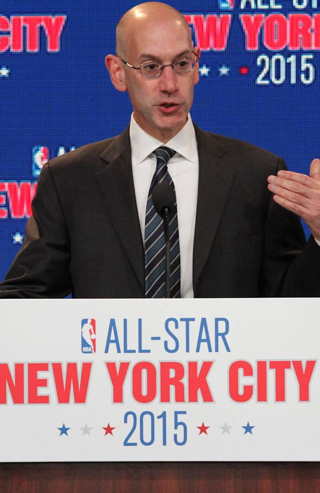 NBA deputy commissioner Adam Silver speaks during a press conference Wednesday Sept. 25, 2013, in New York, announcing the selection of the city to host the NBA All-Star game in 2015. The 64th NBA All-Star game is scheduled to be played at New York's Madison Square Garden Sunday Feb. 15, 2015 with Friday and Saturday night events being held at the Barclays Center in the Brooklyn borough of New York
