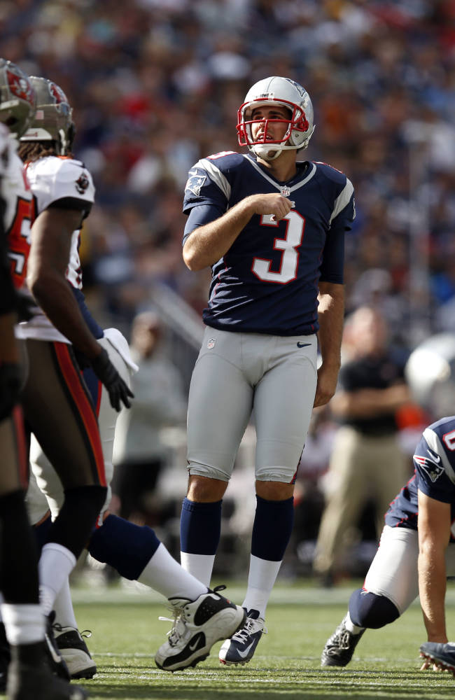 New England Patriots kicker Stephen Gostkowski (3) watches his field goal in the second half of an NFL football game against the Tampa Bay Buccaneers Sunday, Sept. 22, 2013, in Foxborough, Mass. Gostkowski kicked three field goals in the game and the Patriots won 23-3