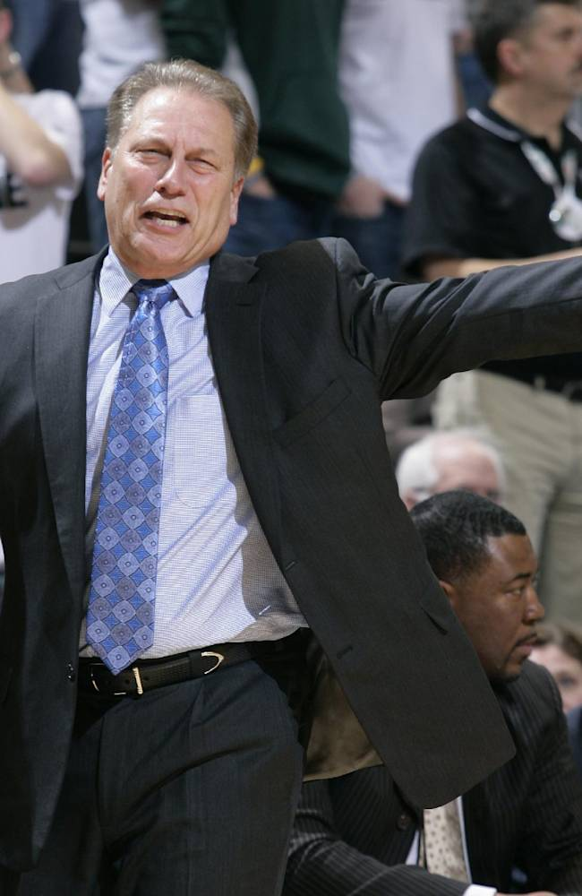 Michigan State coach Tom Izzo reacts during the second half of an NCAA college basketball game against Columbia, Friday, Nov. 15, 2013, in East Lansing, Mich. Michigan State won 62-53