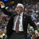 San Diego State coach Steve Fisher yells during the first half in a regional semifinal against Arizona in the NCAA men's college basketball tournament, Thursday, March 27, 2014, in Anaheim, Calif. (AP Photo/Mark J. Terrill)