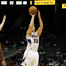 Atlanta Hawks guard Kyle Korver (26) shoots for three during the third period in an NBA basketball game against the Detroit Pistons in Atlanta, Tuesday, April 8, 2014. The Pistons won the game 102-95 The Associated Press