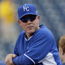Kansas City Royals manager Ned Yost leans against the batting cage before the start of the AL wild-card playoff baseball game against the Oakland Athletics Tuesday, Sept. 30, 2014, in Kansas City, Mo. (AP Photo/Jeff Roberson)