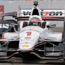 Will Power, of Australia, drives his car into turn 10 during practice for the IndyCar Firestone Grand Prix of St. Petersburg auto race Friday, March 27, 2015, in St. Petersburg, Fla. Power had the fastest time during the session. The race takes place on Sunday. (AP Photo/Chris O'Meara)