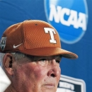 FILE- In this June 17, 2011, file photo, Texas coach Augie Garrido takes a question during an NCAA college baseball news conference at TD Ameritrade Park in Omaha, Neb. ahead of the NCAA College World Series. The Longhorns (20-15, 4-8) are tied for last in the Big 12 going into this weekend's home series against West Virginia. They've lost seven straight conference series dating back to last season. (AP Photo/Nati Harnik, File)