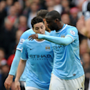 Discussions between Manchester City's Samir Nasri and Yaya Toure, right, during the English Premier League soccer match between Manchester City and Southampton at The Etihad Stadium, Manchester, England, Saturday, April 5, 2014