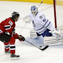 New Jersey Devils center Jacob Josefson (16), of Sweden, scores in the shootout on Toronto Maple Leafs goalie Jonathan Bernier during an NHL hockey game, Wednesday, Jan. 28, 2015, in Newark, N.J. The Devils won 2-1 The Associated Press