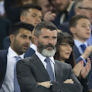 Aston Villa assistant manager Roy Keane takes his seat before the Europa League Group H soccer match between Everton and Wolfsburg at Goodison Park Stadium, Liverpool, England, Thursday Sept. 18, 2014