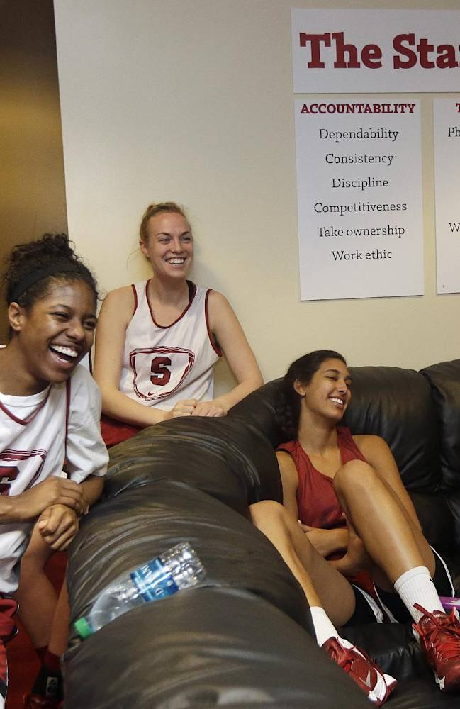 Stanford players joke in the locker room before the start of practice at the NCAA women's college basketball tournament in Stanford, Calif., Saturday, March 29, 2014. Stanford is scheduled to play Penn State in a regional semifinal on Sunday