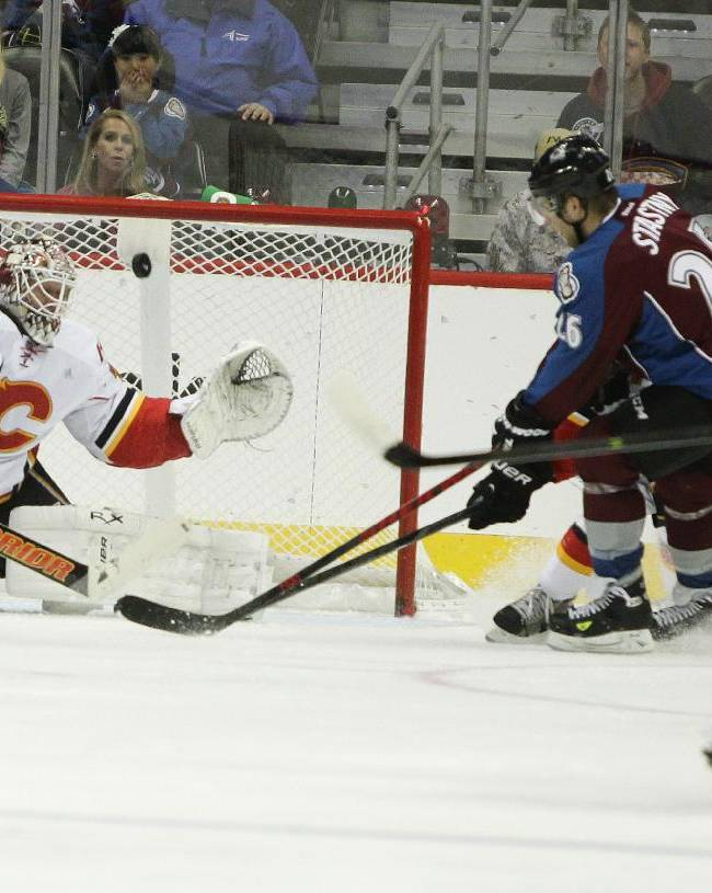 Colorado Avalanches' Paul Stastny (26) scores past Calgary Flames' goalie Karri Ramo, of Finland, during the second period of an NHL hockey game on Friday, Nov. 8, 2013, in Denver