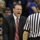 Kansas head coach Bill Self argues as call during the first half of an NCAA college basketball game against Texas Tech in Lawrence, Kan., Monday, March 4, 2013. (AP Photo/Orlin Wagner)