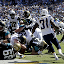 Jacksonville Jaguars running back Toby Gerhart (21) scores against the San Diego Chargers during the first half of an NFL football game Sunday, Sept. 28, 2014, in San Diego. The Associated Press